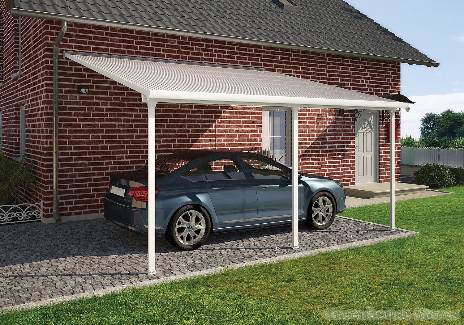 Palram feria 3m carport in 7 lengths greenhouse stores for Design garage online