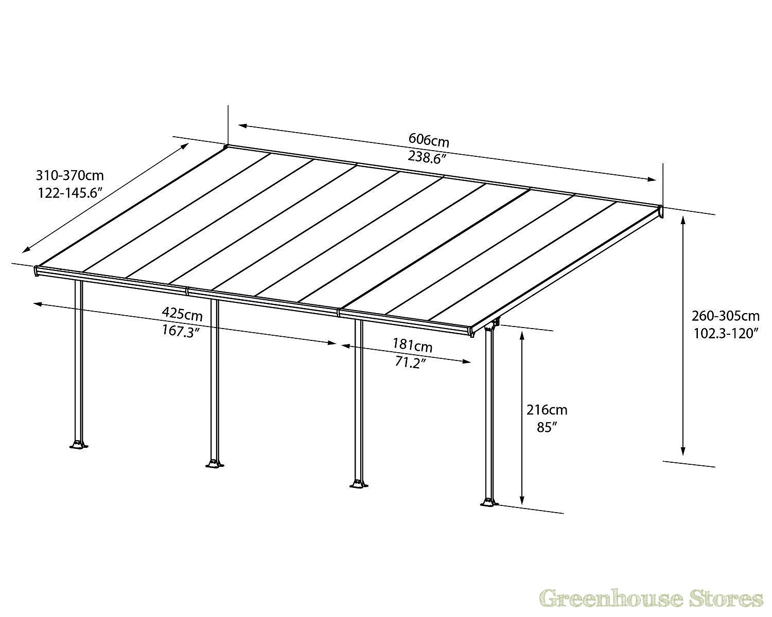 Palram feria 4m carport in 2 lengths greenhouse stores for Carport size for 2 cars