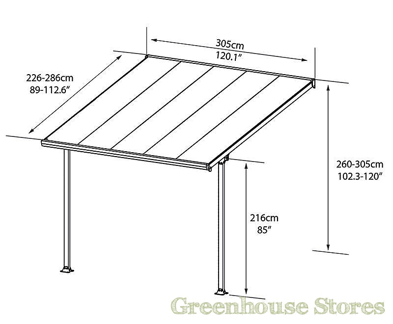 Palram feria 3m carport in 7 lengths greenhouse stores for 3 car carport dimensions