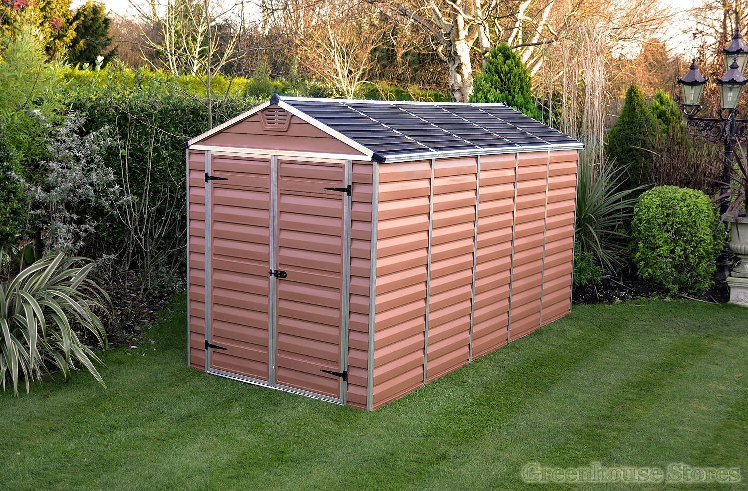 palram 6x12 plastic skylight garden shed in amber