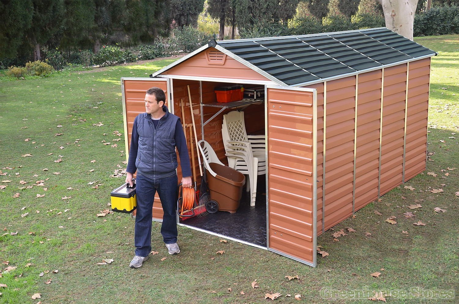 Palram 6x12 Plastic Skylight Garden Storage Shed In Amber