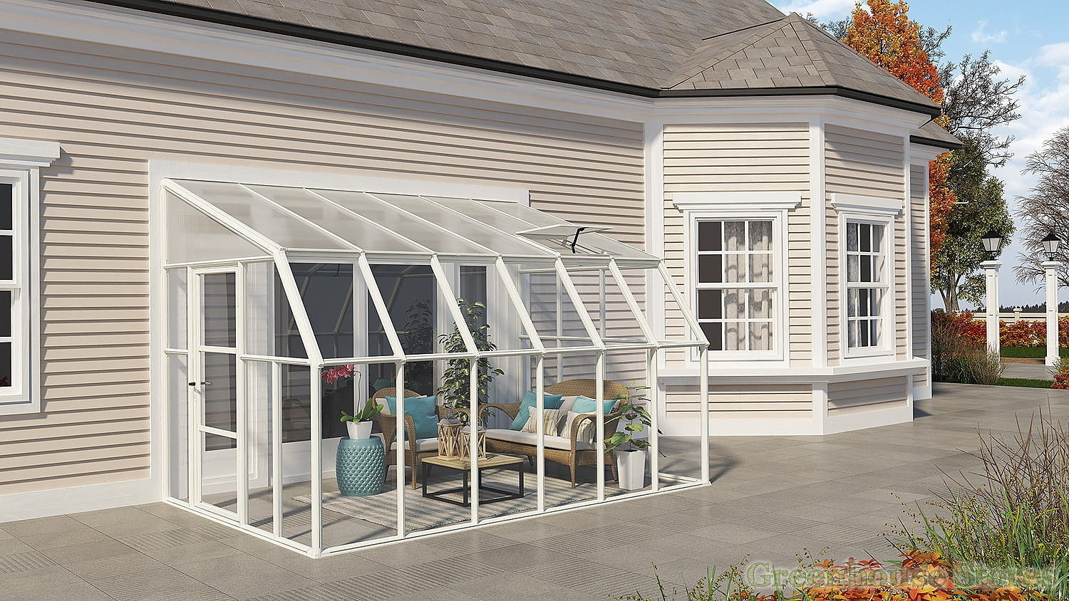 Rion sun room 8x12 lean to greenhouse polycarbonate for Greenhouse sunroom addition