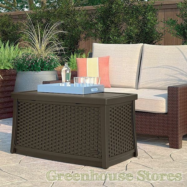 Suncast Elements Coffee Table With Storage Java: Suncast 114litre Coffee Table With Storage In Java