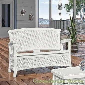Suncast White 87litre Plastic Storage Bench & Suncast 87litre Plastic Storage Bench in Java