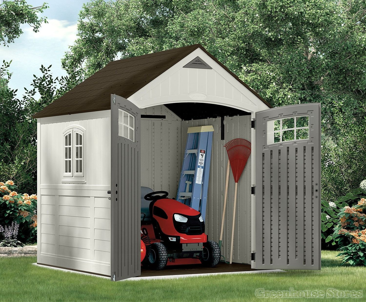 Suncast 7x7 cascade one plastic shed greenhouse stores for Garden shed 7x7