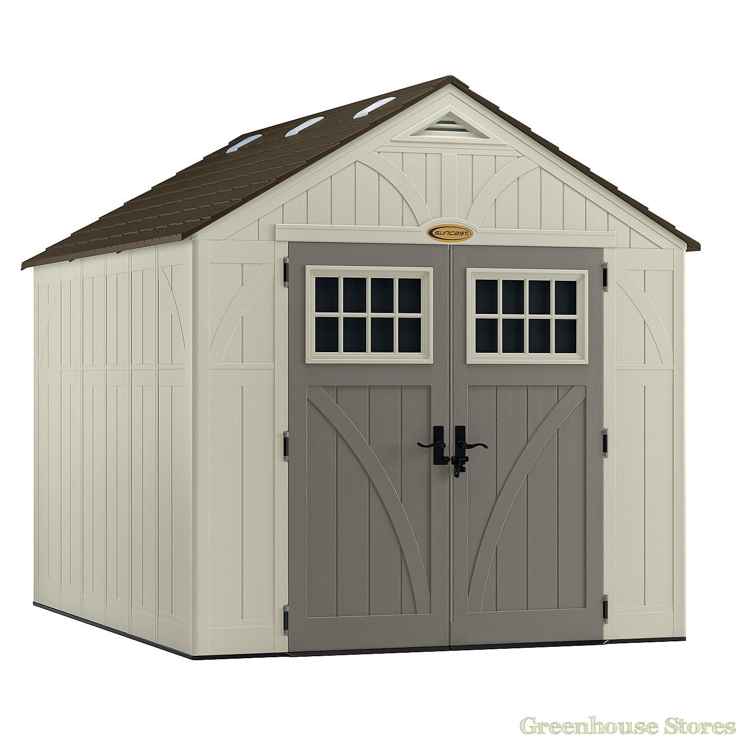 Suncast 8x10 tremont three plastic shed greenhouse stores for Large plastic sheds