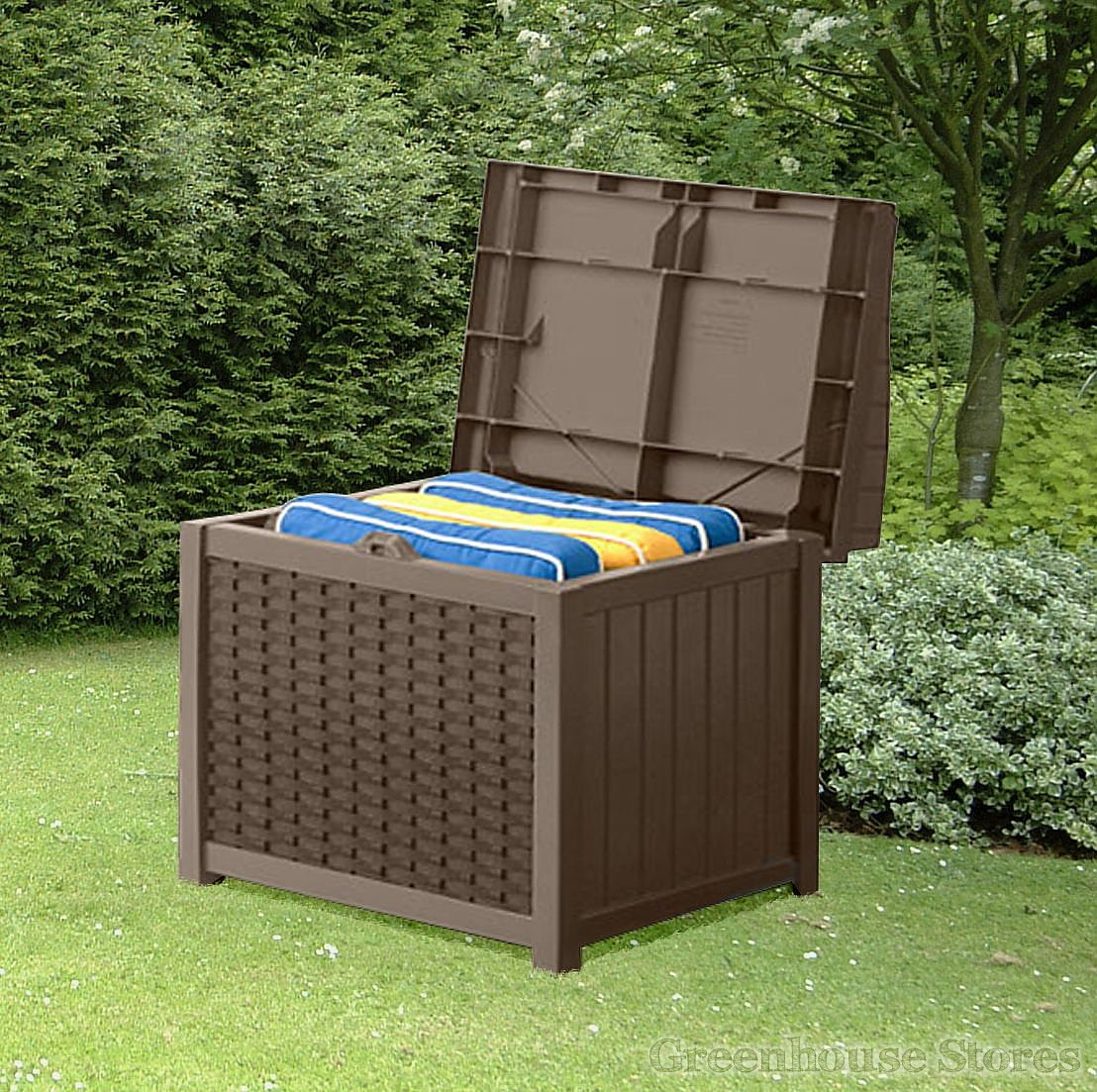suncast 83 litre wicker style plastic storage seat internal storage