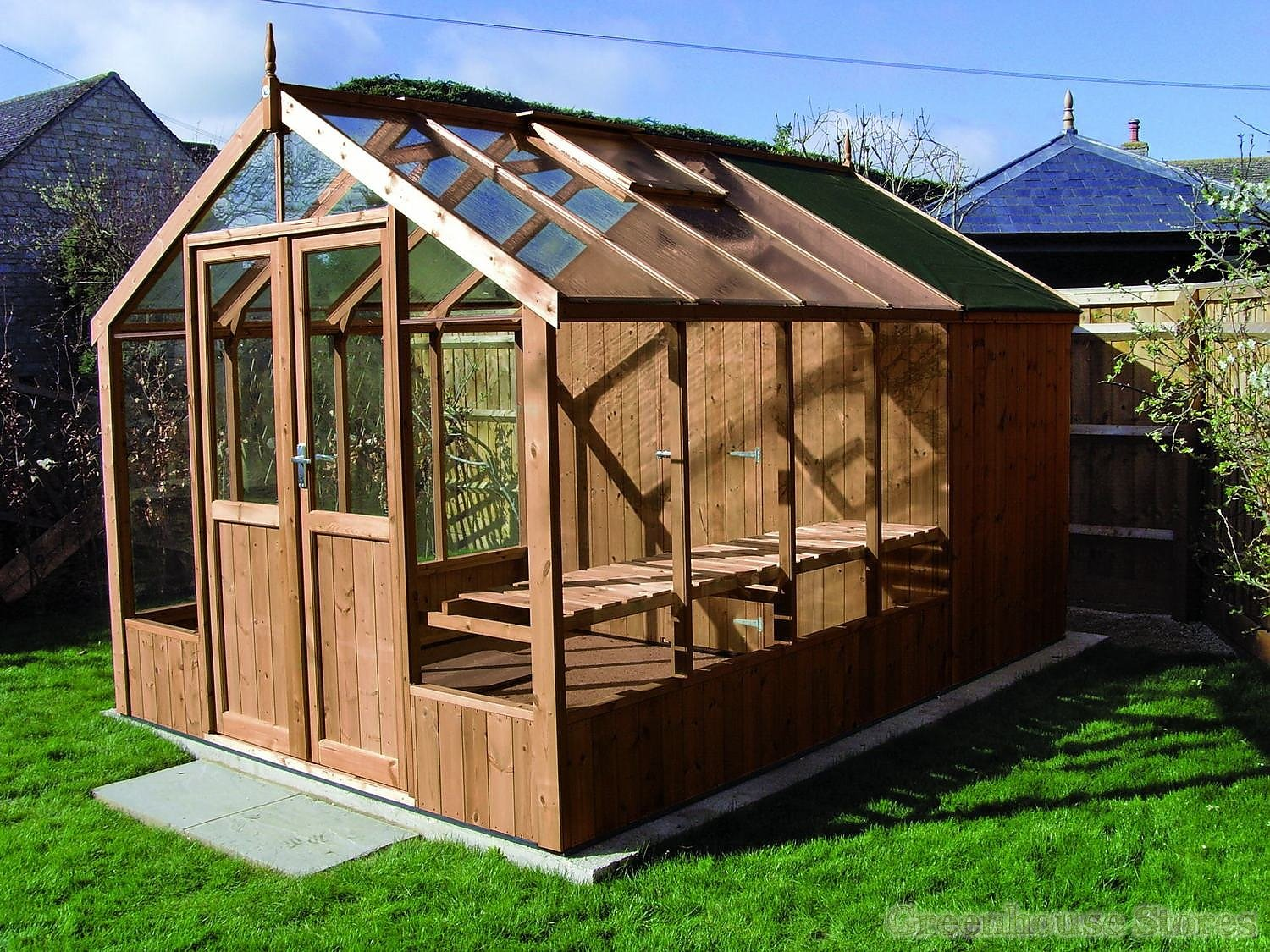 swallow raven 8x8 greenhouse with 4ft shed combination in thermowood