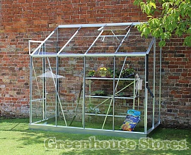 Halls Europa Silver 8x4 Lean to Greenhouse with Horticultural Glass