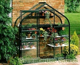 Halls Supreme Wall Garden Green Lean to Greenhouse