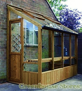 Swallow Finch Wooden Lean to Greenhouse