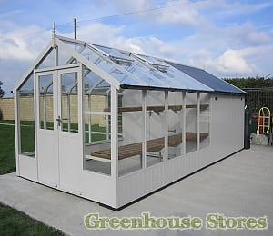 Swallow Raven 8x10 Combi Greenhouse with  6ft Shed in White