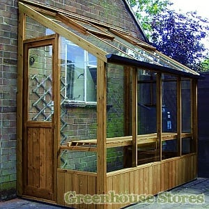 4ft Wide Wooden Lean to Greenhouse