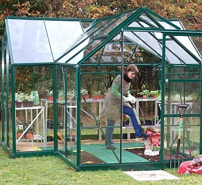 Eden Orangery Green Greenhouse - 3mm Toughened Glazing