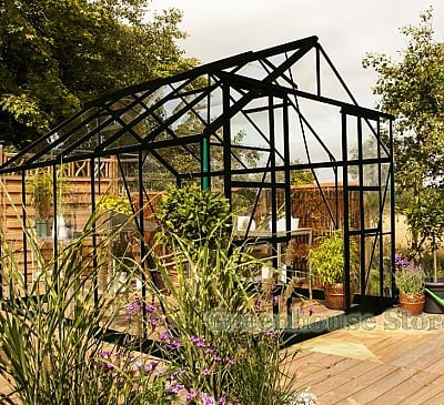 Eden Consort Black 8x10 Greenhouse - Horticultural Glazing
