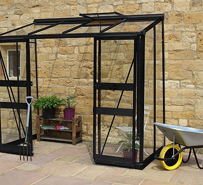 Eden Broadway Black 4x8 Lean to Greenhouse - Toughened Glazing