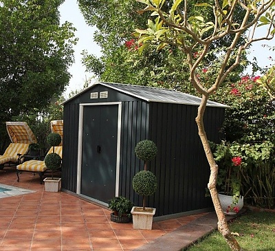 Emerald Anthracite Rosedale 8x8 Metal Shed