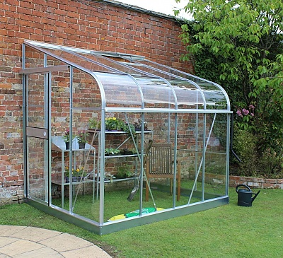 Halls Silverline 6x8 Lean to Greenhouse - Horticultural Glazing