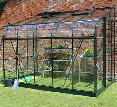 Halls Silverline Green 6x10 Lean to Greenhouse - 3mm Horticultural Glazing