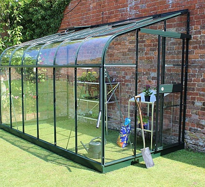 Halls Silverline Green 6x12 Lean to Greenhouse - 3mm Horticultural Glazing