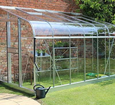 Halls Silverline Silver 6x12 Lean to Greenhouse - 3mm Toughened Glazing