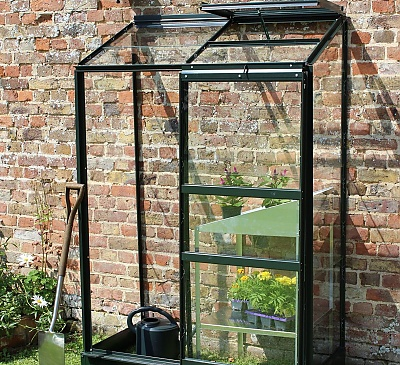 Halls Green 2x4 Wall Garden Lean to Greenhouse - Toughened Glazing