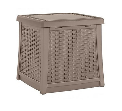 Suncast 49litre Side table with Storage Dark in Taupe