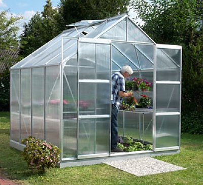Vitavia Jupiter Silver 8x8 Greenhouse - 4mm Polycarbonate Glazing
