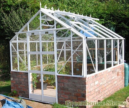 Elite 8x8 Dwarf Wall Greenhouse - Toughened Glazing