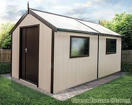 Swallow 8x16 Luxury Shed in Oxford Stone and Brown